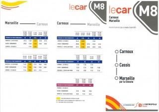 Schedules bus M8 Carnoux-Cassis-Marseille 2019