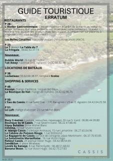 Erratum Guide Touristique Cassis 2020